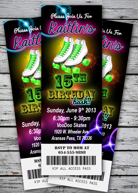 Roller Skating GlowNeon Birthday Party Invitation