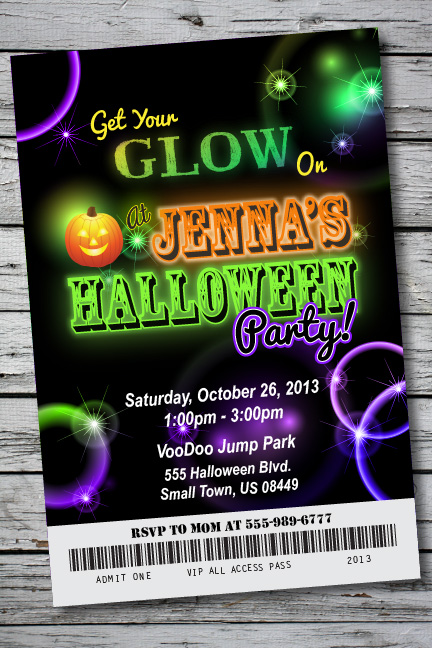 Halloween Glow Neon Birthday Party Invitation