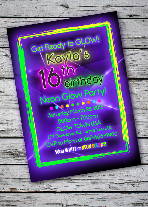 Glow In Dark Party Invitations with amazing invitation template