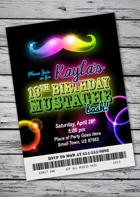 Glow Mustache Bash Birthday Party Invitation – Glow Party Invite