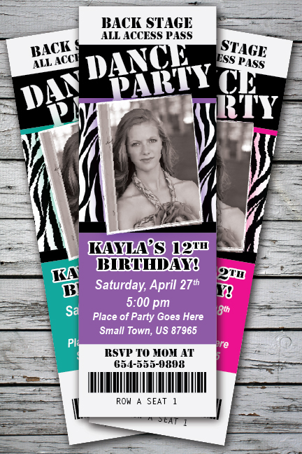 Marvelous Dance Party Birthday Ticket Style Invitation U2013 DIGITAL FILE And Party Ticket Invitations
