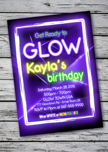 glow blacklight party invitation digital file - Black Light Party Invitations