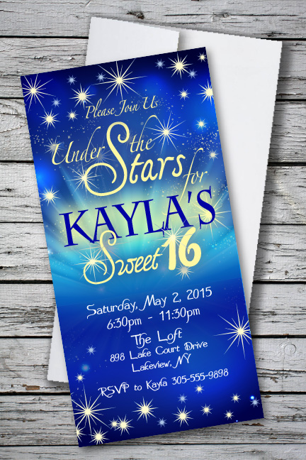 Under the stars sweet 16 birthday party invitation 133 each under the stars sweet 16 birthday party invitation 133 each stopboris Images
