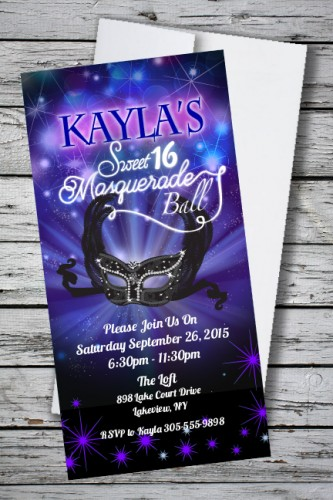 masquerade ball sweet 16 birthday party invitation 133 each