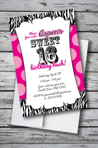 sweet 16 zebra print birthday party invitation 133 each